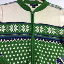 Lands' End Girl Long Sleeve Full Zip Sweater Large L Green White Nordic Winter