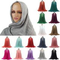Women Soft Premium Viscose Maxi Crinkle Cloud Hijab Scarf Islam Muslim Shawl SH