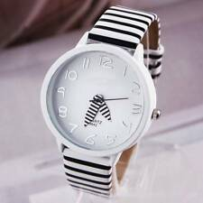 Fashion 1pc Quartz Analog Color Stripes Strap Round Case Zebra Wrist Watch