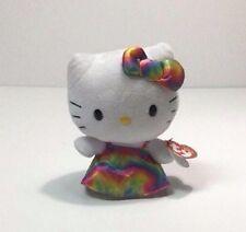 """Hello Kitty 6"""" Ty Beanie Baby Babies Tie Dye Dress Bow MWT"""