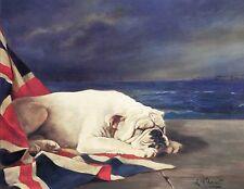 English Bulldog British Flag Napping Dog Puppy Dogs Puppies Vintage Poster Print