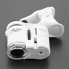 9595W 60X Magnifying Glass LED UV Light Mini Mobile Phone Clip Microscope
