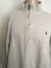 POLO by RALPH LAUREN 1/4 ZIP RIBBED PULLOVER ~ XXL ~ Oatmeal Heather ~Brown Pony