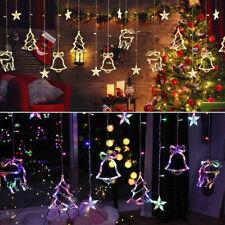 Waterproof Christmas LED Lights Curtain Window Star Elk String Fairy Decor Craft