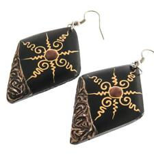 "2"" EXOTIC HAND PAINTED TRIBAL NATURAL WOOD earrings"