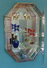 Vintage ROSE Stained Glass Brass mirrored CURIO CABINET for Miniature Display