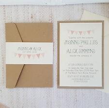 SAMPLE ◦ BUNTING Pocketfold Wedding Invitation ◦ Shabby Chic ◦ Vintage Theme