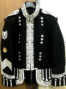 Drum Major Doublet Black Blazer Wool Silver Bullion Machine Embroidered