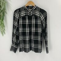 Loft Womens Top Plaid Long Sleeve Size XS Shirt Black White Casual Button Up