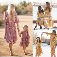 Mother and Daughter Casual Boho Floral Maxi Dress Mommy&Me Matching Outfits