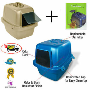 Large Cat Litter Box Enclosed Pan Hooded Jumbo Covered Kitty House Plastic