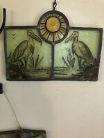 VINTAGE ANTIQUE  Hanging Stained Glass Art Panel Dinosaurs HAND MADE LEADED