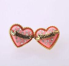 Betsey Johnson Pink Enamel Gold Love Banner Crystal Heart Stud Earrings