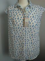 SAVILE ROW WOMEN'S BLOUSE/SHIRT SIZE 18,SMALL BLUE BIRD PATTERN,NEW WITH TAG