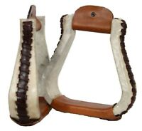 Showman Rawhide Covered Western Saddle Stirrups With Leather Lacing! HORSE TACK!