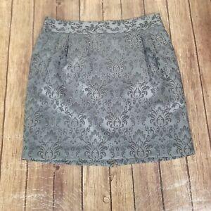 Loft Outlet Skirt Womens Size 14P Petites Gray Zip Mini Floral