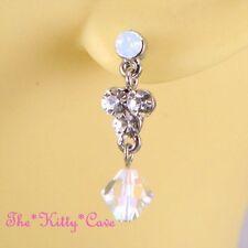 Opal Butterfly Silver Plated Costume Earrings
