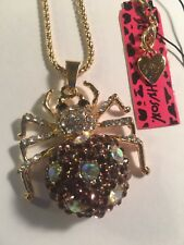 Betsey Johnson PURPLE Rhinestone Spider Chain long Necklaces-BJ12606