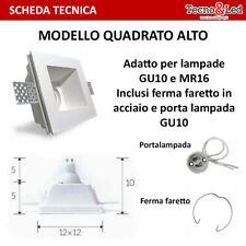 Porta Faretto FISSO in GESSO PROFONDO ALTO Incasso Lampadine LED FARETTO GU10