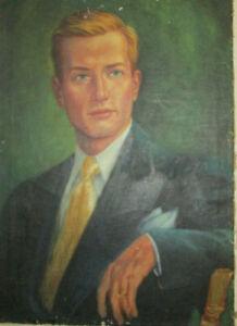 FINE VINTAGE 1950s MALE PORTRAIT HANDSOME BLONDE PAINTING  UNSIGNED