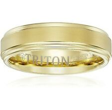 Triton Mens Yellow Tungsten 6mm Step Edge Comfort Fit Band, Size 12.5