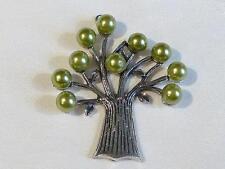 Gran antiqued plateado Árbol de la vida Colgante-Verde Perlas - 59mm... p896 *