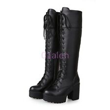 Womens Punk Lace Up Platform Block Heel Knee High Boots Knight Riding Shoes Size