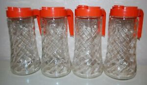 Lot of 4 Tang Pitcher Anchor Hocking 1 Quart Swirl Clear Glass, Orange Lid