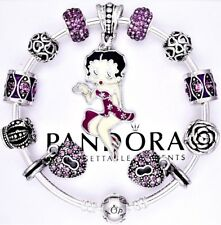 Authentic Pandora Silver Bangle Bracelet with BETTY BOOP Purple European Charms