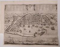1723 Peter Van der Aa Pianta Veduta Prospettica Messina Messana Urbs Sicilia