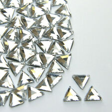 GLASS Crystal Clear Triangle Flat Back Hotfix/Glue On Rhinestones 100 x 6mm