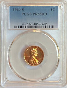 1969 S Lincoln Cent PCGS PR68RD Red Proof 68 (418-1)