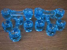 8 porte couteaux ,verre bleu taillé,Epoque XIX°