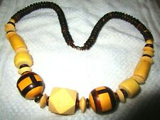 "23"" Chunky Light & Dark Wood Wooden Beaded Art Deco Necklace"