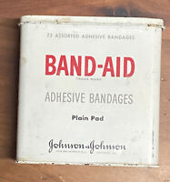 Vintage Johnson & Johnson Metal Band-Aid Tin Box Plain Pad Adhesive Bandages