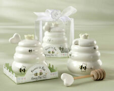 Meant to Bee Ceramic Honey Pot Dipper Wedding Favors