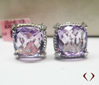 11.59CT Amethyst and Diamond Earrings F SI 18K White Gold