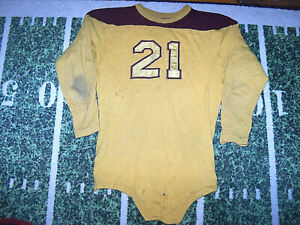 VTG 1920's A.G. Spalding Leather Helmet Era Wool Game Used Worn Football Jersey