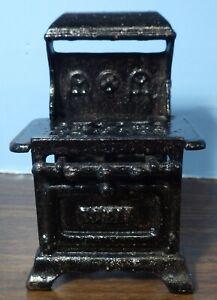 "Vintage Miniature Black Royal Cast Iron Gas Stove 3""x4"" Preowned"