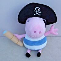 "2009 TY Peppa Pig's 9"" PIRATE GEORGE PIG Beanie Soft Plush Toy"