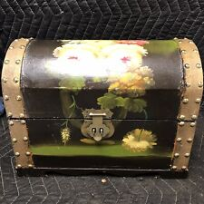 Hand Painted oil on wood Floral Scene Trunk Storage Box Chest Home Decor 13x10x7