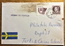 Missent to Tortola (B.V.I.) destination Turks & Caicos from Göteborg Sweden 1981