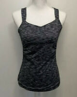 Prana Womens Athletic Yoga Tank Top Heathered Gray Shelf Bra Workout SIze Small