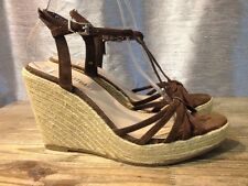Colin Stuart Brown Wedge Heels Sandals Strappy Women's Size 9 B