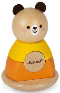 Janod BEAR STACKER & ROCKER Baby Toddler Wooden Educational Activity Toy 12m+ BN