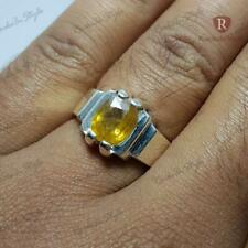 2.5 Ct AAAA Unheated natural Yellow Sapphire 925 Sterling Silver Ring Size 7-13