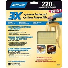 Norton 02616 3X Handy Aluminum-Oxide Sandpaper 220 Grit, 9-Inch x 11-Inch, 3-Pac