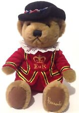 "Harrods Knightsbridge Beefeater Teddy Bear 11"" Plush London Royal Guard Sitting"
