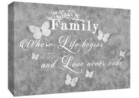 FAMILY QUOTE - Life - Grey Canvas Wall Art Picture Print- ALL SIZES