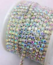 10 Yards ss8 AB Close Cup Chain Grade A+ Crystal Rhinestones Silver Chain
